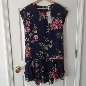 NWT Joie Navy Floral Silk Coreen Dress Size XS